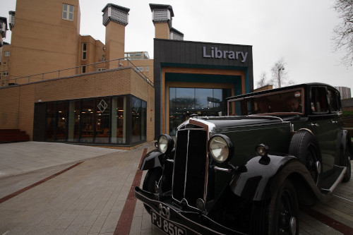 Coventry University's 1932 Lanchester car parked outside the newly refurbished library (appropriately named the Frederick Lanchester building), 2020.