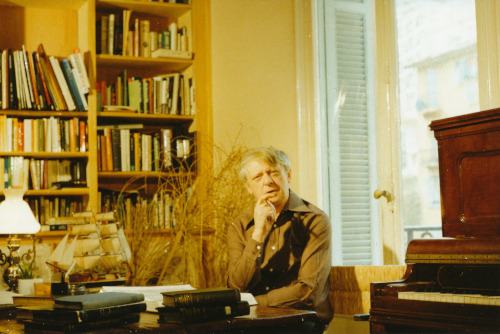 Anthony Burgess in the study of his home in Monaco. Much of the contents of this property now forms part of the Burgess Foundation's collection.