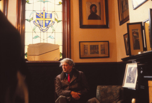 Anthony Burgess at Xaverian College, Manchester, in 1983.