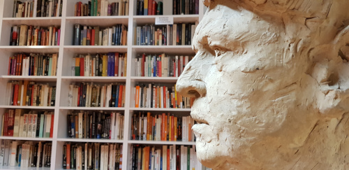 Partial profile of Milton Hebald's bust of Anthony Burgess, photographed in the Burgess Foundation's reading room in Manchester