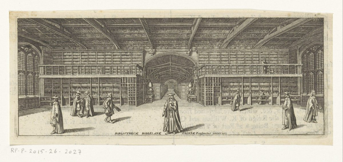 Interieur van de Bodleian Library te Oxford Bibliothecae Bodleianae Oxoniae prospectus interior (title on object)